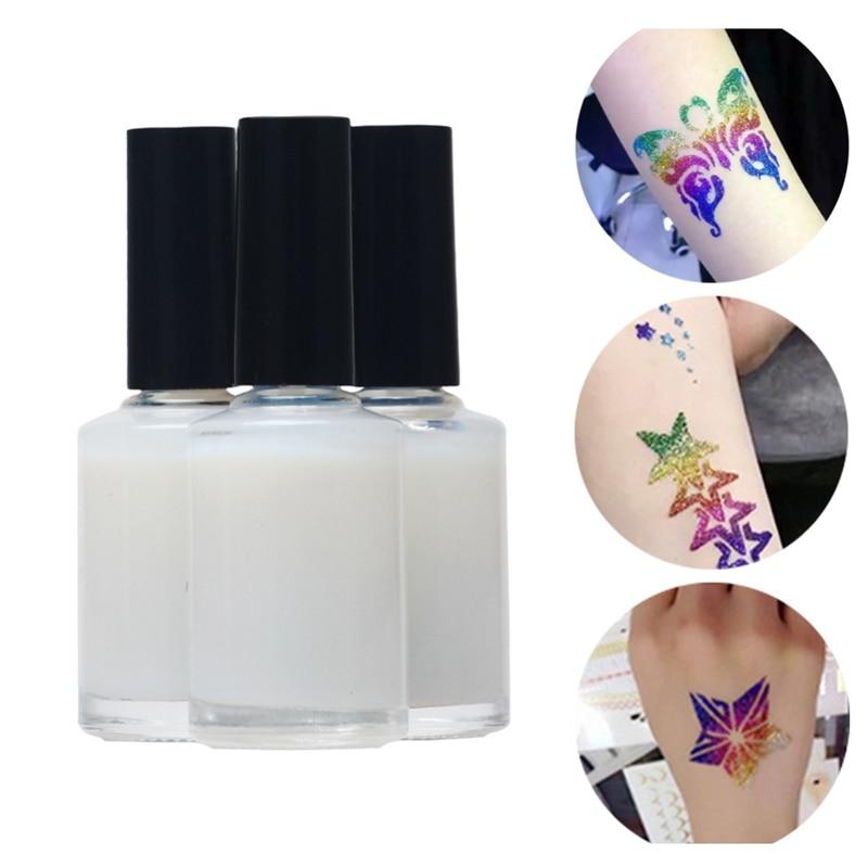 3 X 15ml Cosmetic Body Glue One Time Colorful Glitter Waterproof Tattoo White Gel Flash Powder Tattoo Glue Body Art Paint Temporary Tattoos Aliexpress