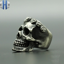 Original Handmade Silver Literary House Dark Skull And Rose Sterling Old Punk Ring