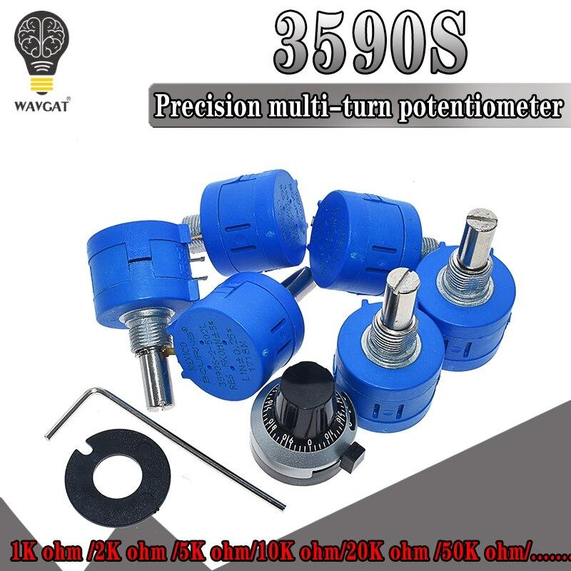 Wavgat 3590 s multiturn potenciômetro 500 1 k 2 k 5 k 10 k 20 k 50 k 100 k ohm potenciômetro resistor ajustável 3590 102 202 502 103
