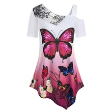 Explosion Models Ladies T-shirt Butterfly Lace Off-The-Shoulder Head Short-Sleeved T-shirt Casual Ladies Bottoming Shirt T-shirt off the shoulder lace insert cut out t shirt