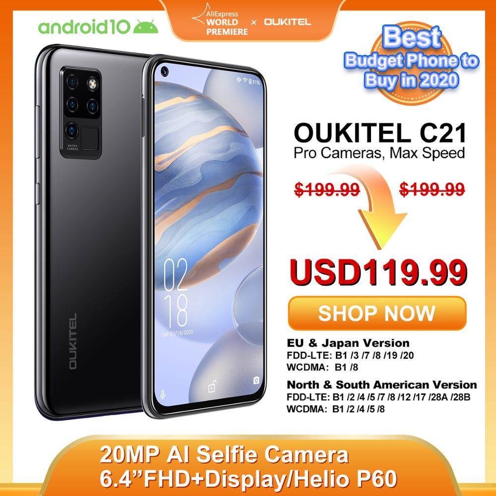 OUKITEL C21 20MP Selfie 6.4'' FHD Hole Punch Screen Helio P60 4000mAh Octa Core 4G 64G Quad Camera Celular SmartPhone PK XIAO