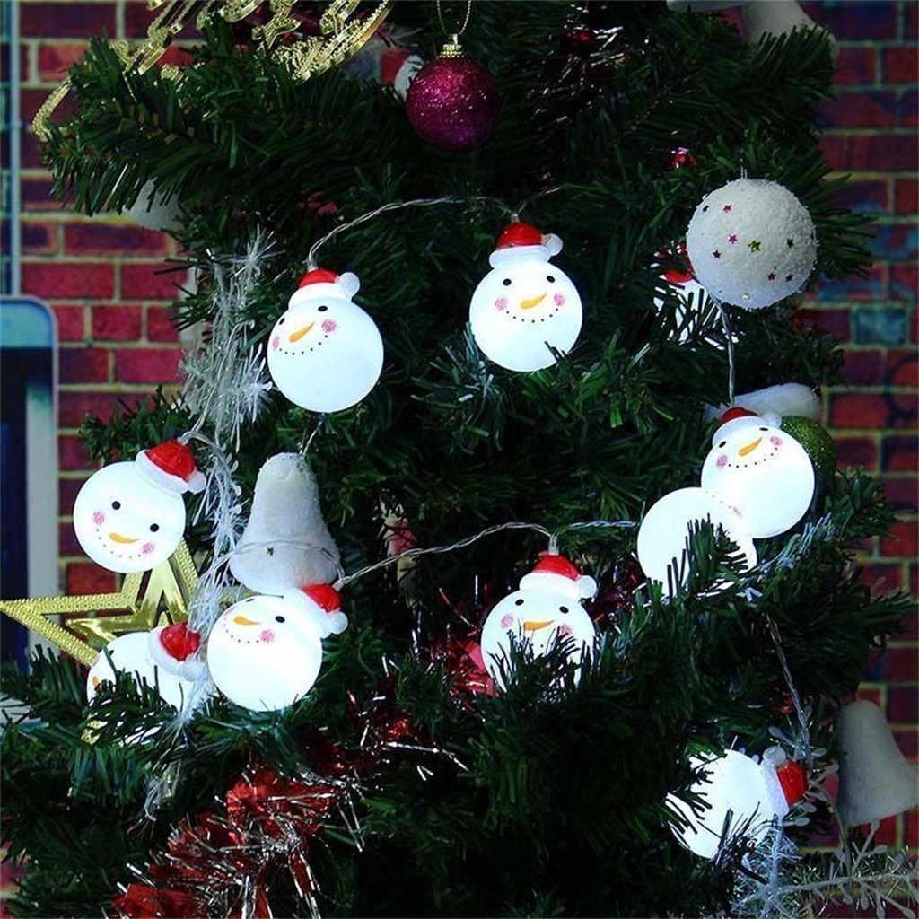 Decorações Da Árvore de natal LED Luzes Cordas Garland para Home 2019 Unicórnio Ornamento Do Boneco de neve de Natal Navidad Natal Ano Novo