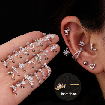 2020 New 1Pc Silver Color Stainless Steel Ear Cartilage Helix Screw Back Earring Stud Cz Tragus Rook Conch Piercing Jewelry