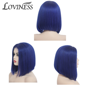 Loviness 8-16 inch 150% 13x6 Bob Lace Front Human Hair Wigs Straight Brazilian Remy Highlights Color Short Bob Wig For Women