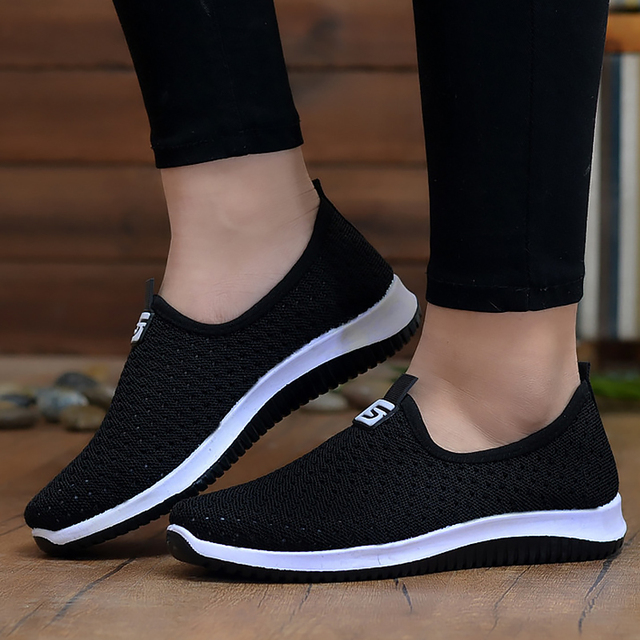 Women's Sneakers Breathable Air Mesh Wedges Summer Shoes For Women Shallow Solid Non Slip Casual Shoes Woman Rubber