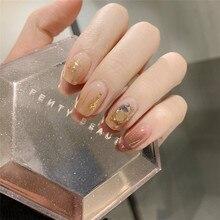 14 punte/set adesivi per unghie a copertura completa avvolge la decorazione fai da te per decalcomanie di arte di bellezza pianura autoadesiva