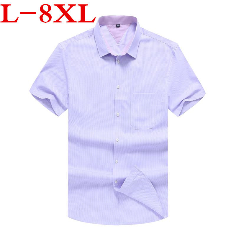 Big Size 8XL9XL Plaid Shirt Men Shirts  New Summer Fashion Chemise Homme Mens Checkered Shirts Short Sleeve Shirt Men Blouse