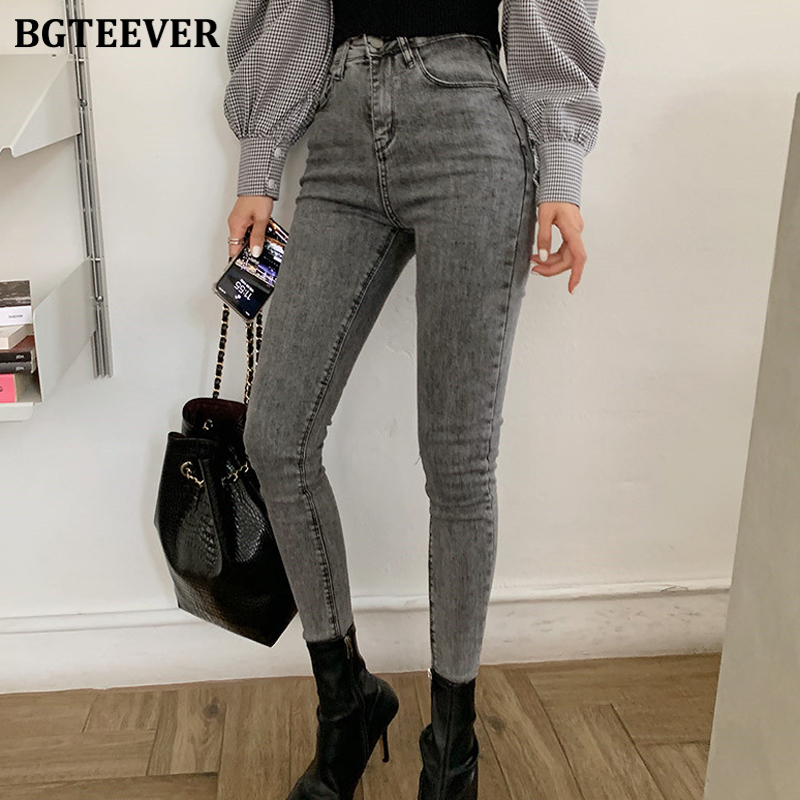 BGTEEVER Vintage Gray Skinny Jeans Women High Waist Stretchable Jeans Women High Street Denim Pants Female Vaqueros Mujer 2019