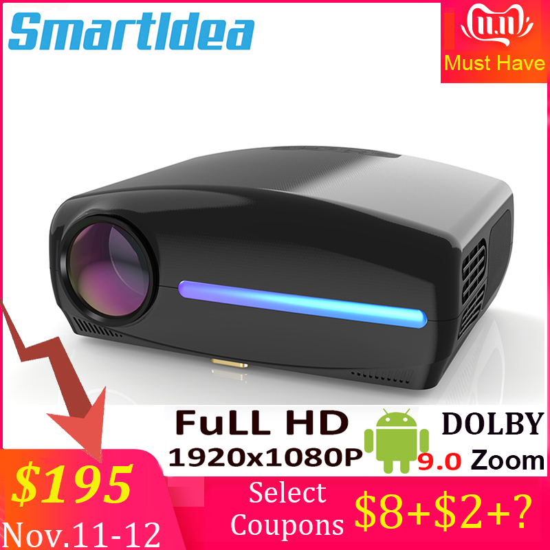 Smartldea S1080 1920*1080P LED HD Projector, 4D Digital Keystone, Android 9.0 WiFi Optional,HDMI Smart Proyector,3D Home Beamer-in LCD Projectors from Consumer Electronics