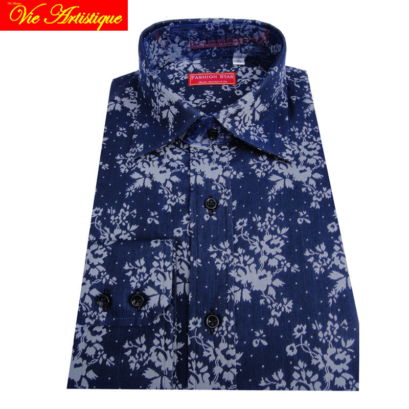 custom tailor made Men's bespoke cotton floral shirts business formal wedding ware blouse jean blue white flower fashion david
