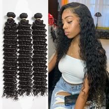 Tissage en lot Deep Wave brésilien 100% naturel Remy, cheveux bouclés, couleur naturelle, 28 30 32 40 pouces, Extension de cheveux