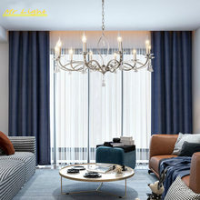 American Retro Crystal LED Chandelier Lighting Nordic Wrought Iron Ceiling Chandeliers LOFT Living Room Bedroom Hotel Decor Lamp