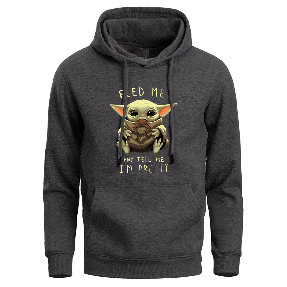 Baby Yoda Hoodie Men Funny Cartoon Sweatshirt Streetwear Mens Hoody Winter Fleece Warm Crewneck Star Wars Sweatshirts Hoodies