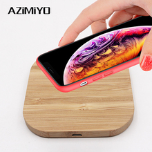 AZiMiYO Qi Fast Wooden Wireless Charger for iPhone 11 Pro XS Max XR 8 Plus Wireless Charging Pad for Samsung S10 S9 S8 S7