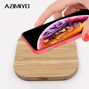 Image 1 - AZiMiYO Qi Snelle Houten Draadloze Oplader voor iPhone 11 Pro XS Max XR 8 Plus Draadloos Opladen Pad voor Samsung s10 S9 S8 S7