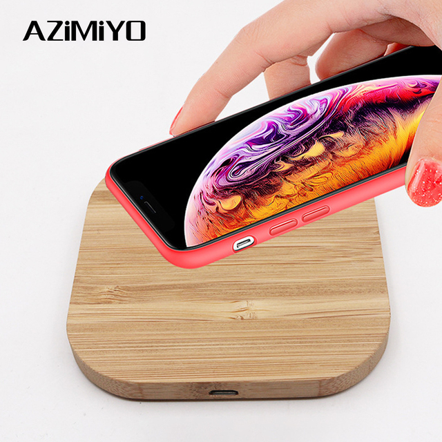 AZiMiYO Qi Snelle Houten Draadloze Oplader voor iPhone 11 Pro XS Max XR 8 Plus Draadloos Opladen Pad voor Samsung s10 S9 S8 S7