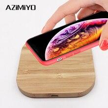 AZiMiYO cargador inalámbrico rápido de madera Qi para iPhone 11 Pro XS Max XR 8 Plus, almohadilla de carga inalámbrica para Samsung S10 S9 S8 S7