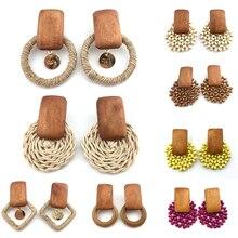 Fashion Women Earrings Handmade Wood Bamboo Rattan Pendant Dangle Drop girls Summer Beach Trendy Jewelry Boutique gifts