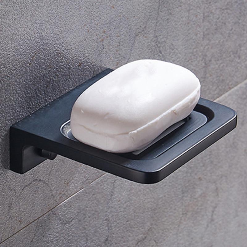 Space Aluminum Black Soap Box Wall Mounted Rack Bathroom Accessories Product Soap Dish Rack Storage Shelves & Racks     - title=