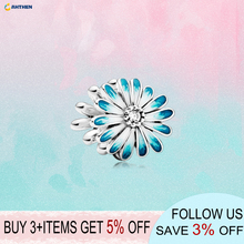 2020 New Series S925 Sterling Silver Beads Blue Daisy Flower Charms fit Original Pandora Bracelets Women DIY Jewelry charms blue daisy flower charm 100