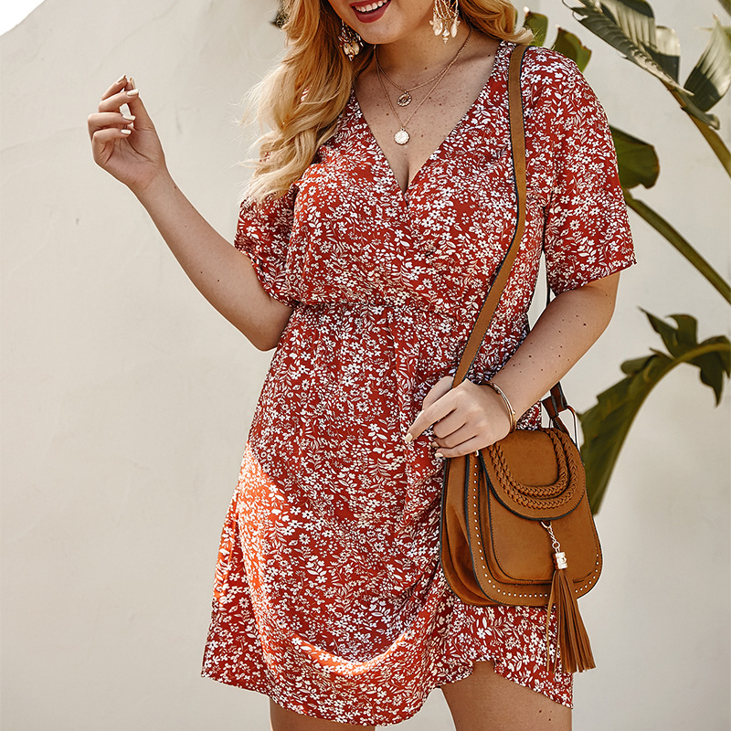 Plus Size Summer Floral Print <font><b>Dress</b></font> Women V Neck Drawstring Lace Up Vestidos <font><b>Elegant</b></font> Party <font><b>Beach</b></font> <font><b>Boho</b></font> Robe Ruched <font><b>Sexy</b></font> <font><b>Dresses</b></font> image