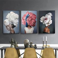 Kwiat głowy kobiety Feather plakaty i druki Nordic rysunek na płótnie malarstwo dziewczyny ściana dekoracja z wzorem kwiatów obraz do salonu sypialnia tanie tanio CN (pochodzenie) Obrazy olejne Pojedyncze Płótno Rysunek malarstwo Bezramowe lustra Nowoczesne G5324 Malowanie natryskowe