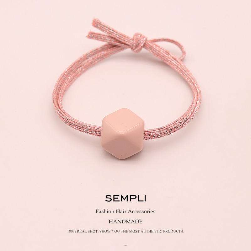 Sempli High Quality Nylon Gold Wire Elastic Hair Bands For Women's Girls Glitter Geometric Acrylic Rubber Bands Accesorios Mujer