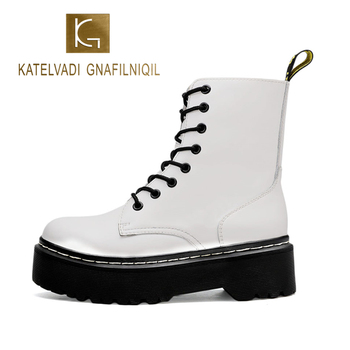 KATELVADI Ankle Martens Boots New White Cow Leather Women Punk Shoes Thick Bottom Motorcycle SC-001