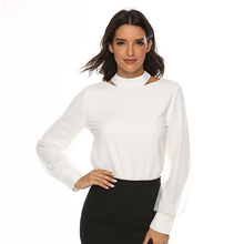 Chiffon Long Sleeve Female Blouse Shirt Back Bow Stand Neck Mesh Bishop Long Sleeve Ladies White Office Body Shirt Women Clothes bishop sleeve ribbed sweatshirt