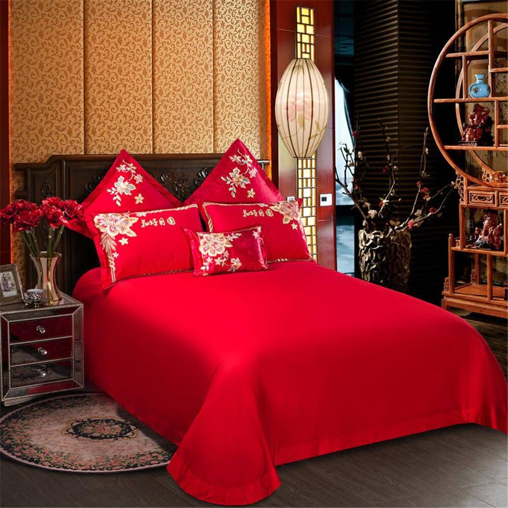 2019 красный фон с наилучшими пожеланиями свадебные комплекты постельного белья Высокая распродажа пододеяльник queen/King size 4/6 шт - 2