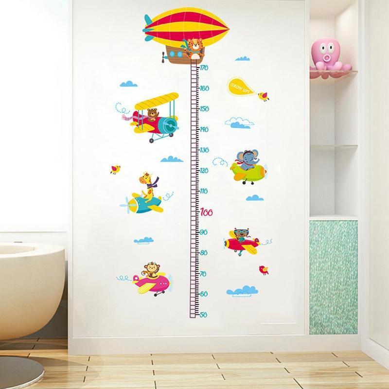 2шт животные самолет Мультфильм Высота линейка настенные наклейки для детского сада наклейки - 3