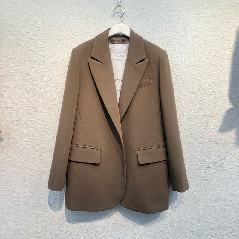 Retro Loose Ladies Blazer Solid Khaki Casual Simple Suit Jacket Long Sleeve Blazer Branco Korean Women Blazer Large Size MM60NXZ