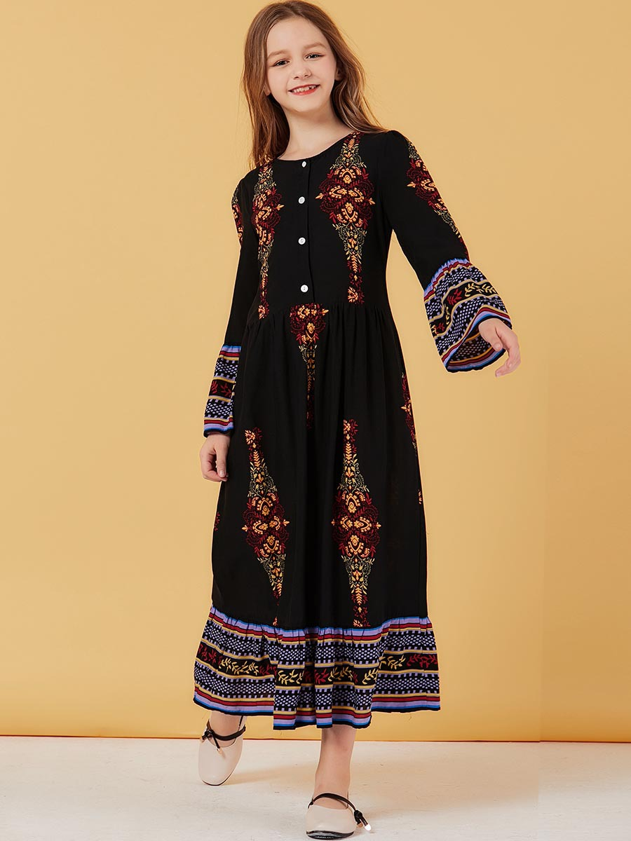 Girls Abaya For Kids Hijab Muslim Dress Turkish Abayas For Children Islam Kaftan Dubai Caftan Qatar Ramadan Islamic Clothing