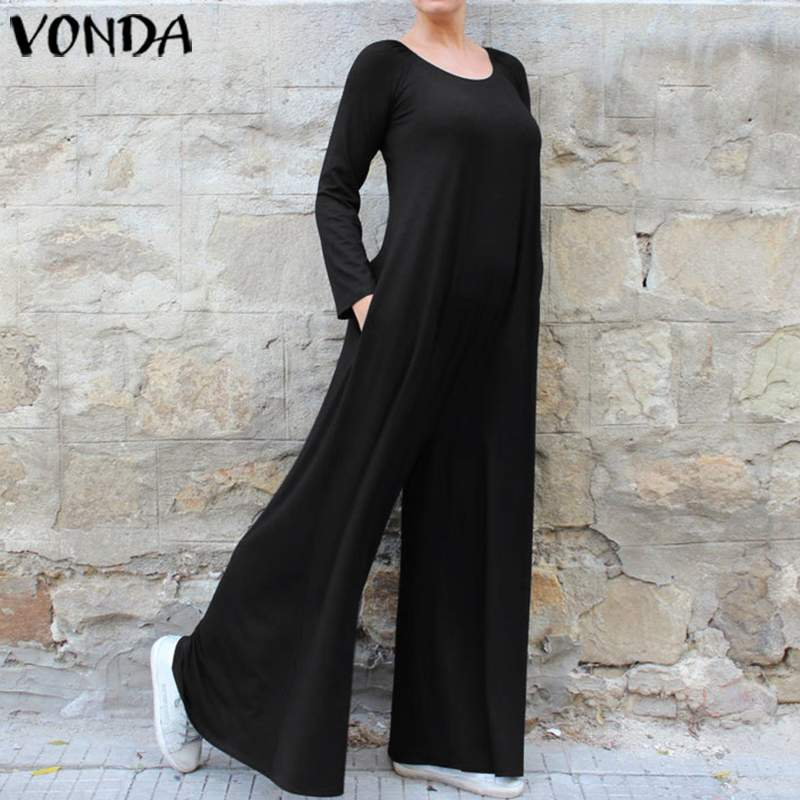 Wide Leg Pants Women Bohemian Solid Playsuits VONDA Long Sleeve Plus Size Oversall Casual Loose   Rompers   Womens Jumpsuits S-5XL