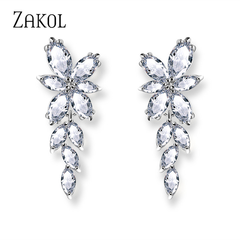 ZAKOL Marquise Cut Cluster Flower Zirconia Crystal Long Dangle Drop Earrings Shiny Leaf Bridal Wedding Jewelry for Women FSEP167