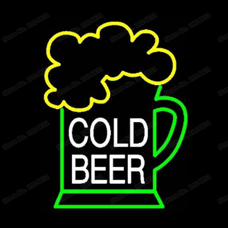 """Cold Beer Glass Neon Sign Handmade Real Glass Bar KTV Club Store Party Motel Restaurant Decoration Display Neon Signs 15""""X19"""