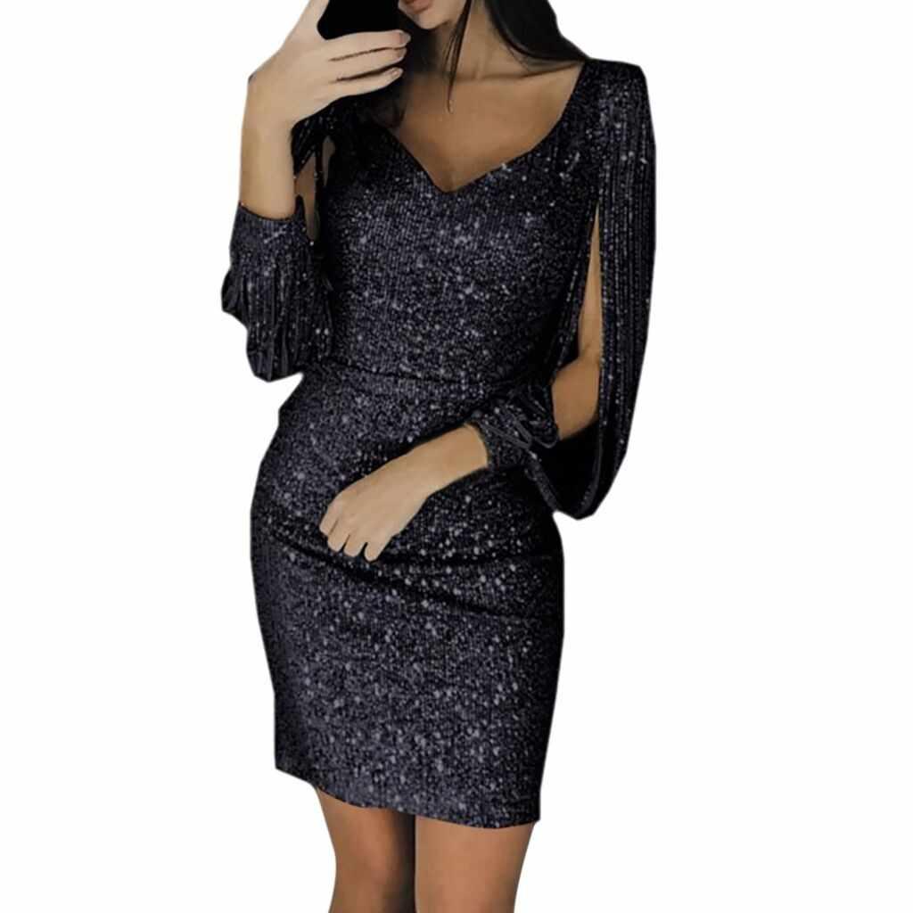Kadın v yaka İnce payetli püskül seksi katı payetli dikiş parlayan kulüp kılıf uzun kollu Mini elbise