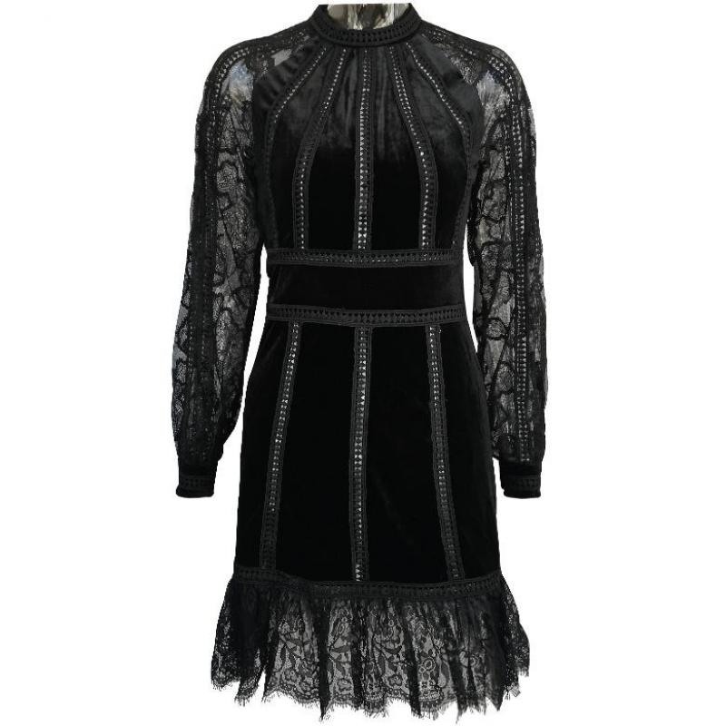 Red RoosaRosee Runway Autumn Patchwork Black Lace Dress Women Lantern Long Sleeve High Waist Mini Dresses Female Fashion Vestido