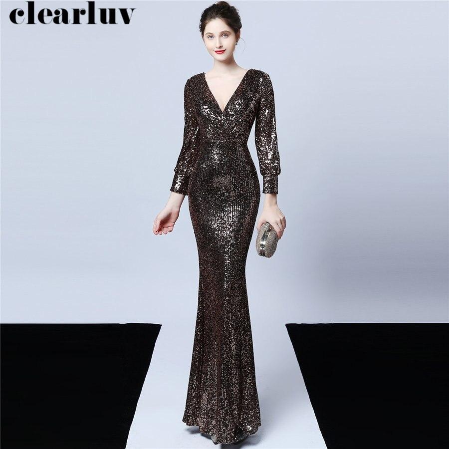 Floor Length Mermaid Prom Dress Sequins Women Party Dress 2019 Plus Size Robe De Soiree DX240-7 Long Sleeves Sexy Evening Dress