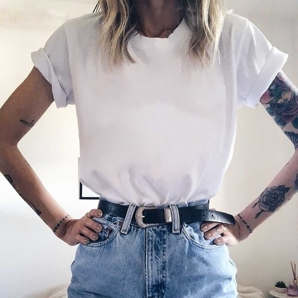 Supernatural Cinta Tshirt Perempuan Lucu Tee Trendi Kaos Musim Panas Harajuku Cinta Cetak Vogue Tee Wanita T-shirt Streetwear