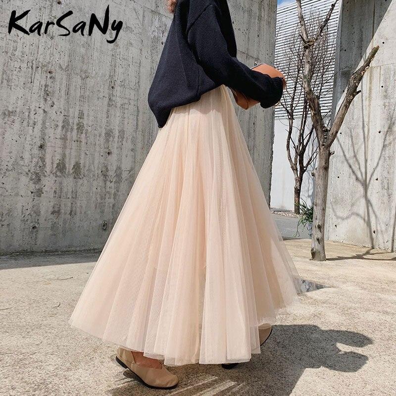 Women's Tulle Skirt Long Black Spring Summer High Waist Maxi Skirts For Women Long Skirt Tulle Woman White Mesh Skirts Womens