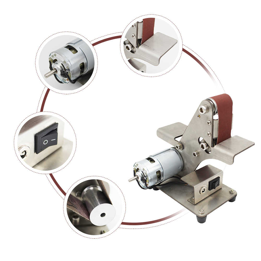 電気 DIY 研磨機ミニベルトサンダー砂ベルトマシンのデスクトップサンダーベルトサンディング研削盤