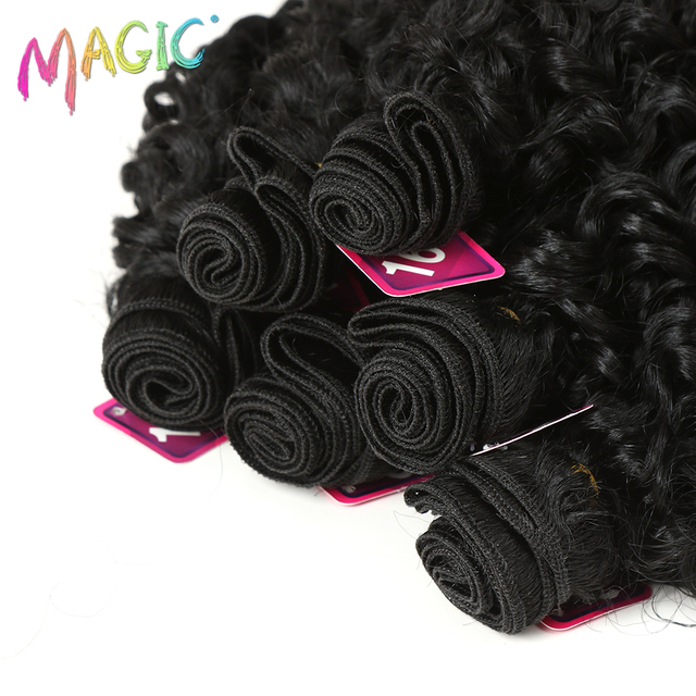Magic afro cabelo sintético cacheado, cabelo sintético trançado 16-20 polegadas 7 peças/lote pacotes com fecho africano renda para extensão de cabelo feminino