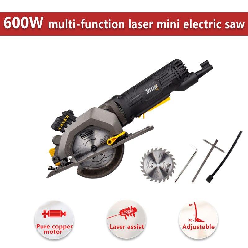 600W électrique outil électrique Mini scie circulaire électrique avec Laser, bricolage multi-fonction scie électrique pour couper le bois, Tube de PVC