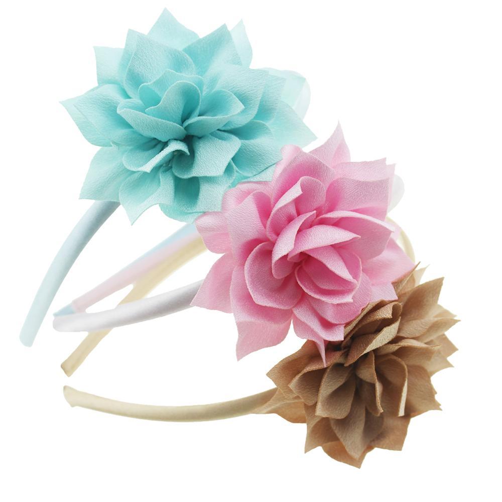Girls Chiffon Floral Headbands DIY Lotus Headwear Satin Ribbon Covered Hairbands Hair Accessory