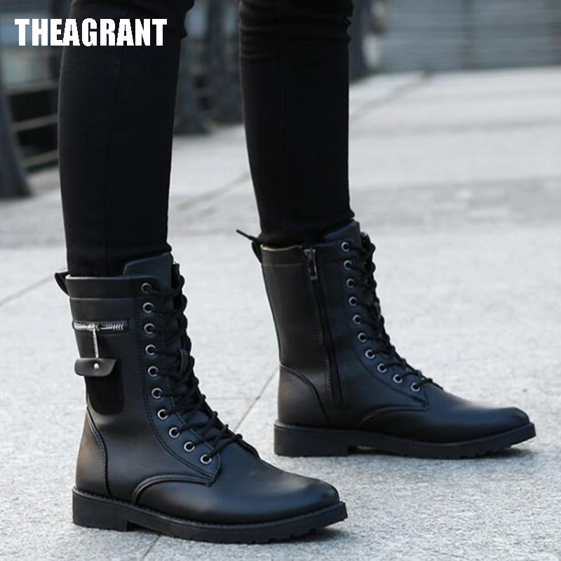 THEAGRANT 2019 Men Boots Pu Leather Man Flat Shoes Mid Calf Autumn Winter Male Lace Up Martin Combat Boots Footwear MBS3000