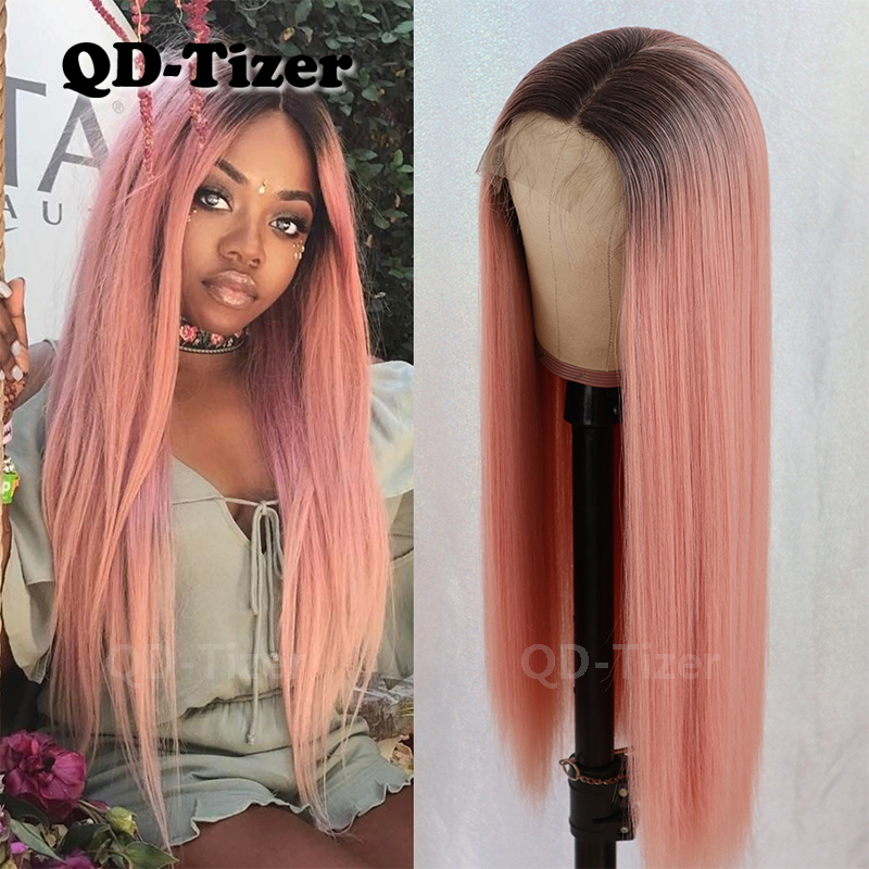 QD-Tizer #1b/Pink Ombre Long Lace Wigs Straight Glueless Heat Resistant Synthetic Lace Front Wigs