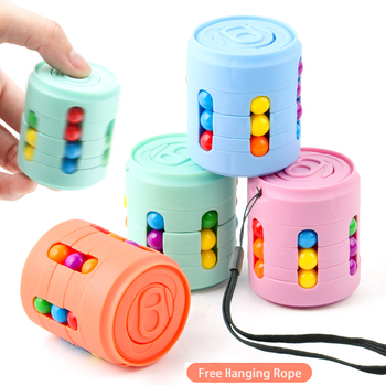 Funny AntiStress Colorful Magic Bean Rotating Toys Creative Cube Learning Finger Spinning For Adults Children Stress Relief Toy