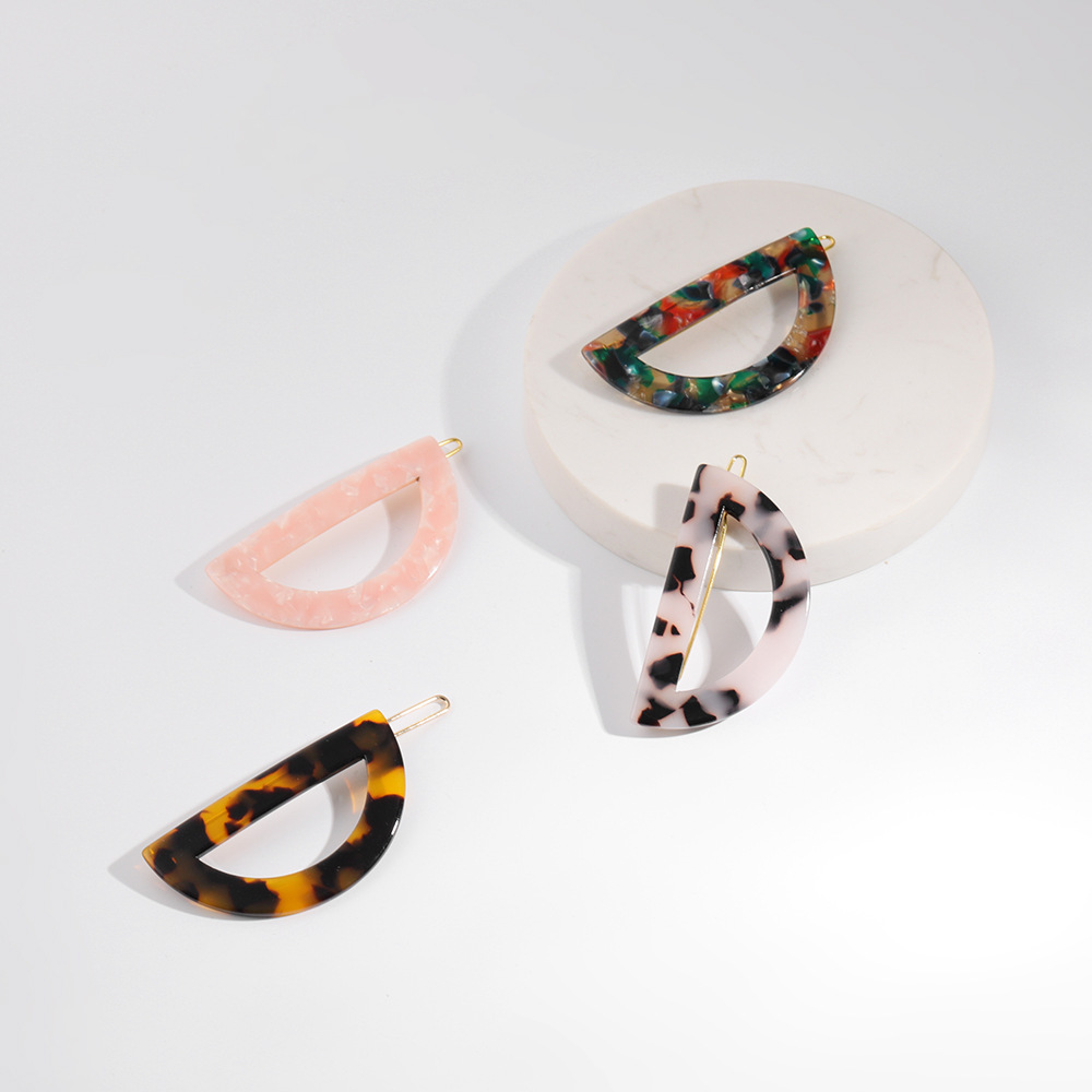 Fashion Acrylic Semicircle Colorful Leopard Acetic Acid Hair Clip Women Japanese Style Geometric Accessories Jewelry