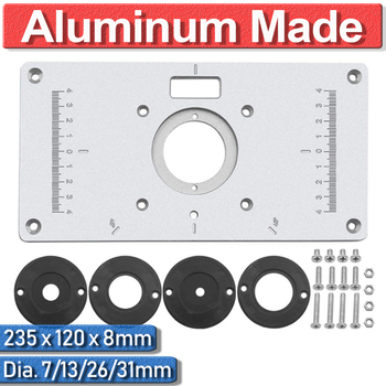 цена на 1 Set Aluminum 235 x 120 x 8mm For Woodworking Benches With 4 Rings Trimmer Plate Router Insert Plate Table Ring Universal DIY